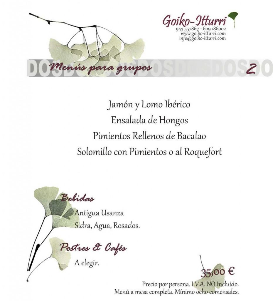 Menú 2 Restaurante Goikoitturri
